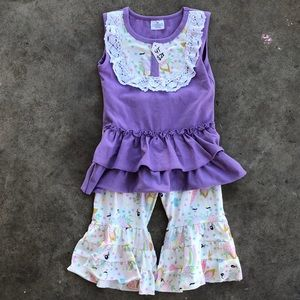 🔵 4/$20 NWT Unicorn Two Piece Flare Bottom Set 4T